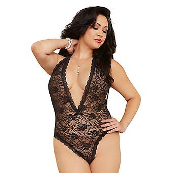 Sexy Plus Size halster Lace hart uitgesneden rug Teddy Lingerie