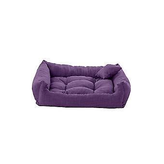 Pet Klub Purple 70cm x 55cm Medium Sized Foam Crumb Filled Tufted Dog Bed in Textured Linen Feel Fabric