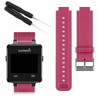 For Garmin Vivoactive Strap Replacement Wristband Bracelet With Tool[Rose Red]