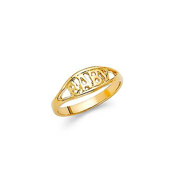 14k Yellow Gold Boys and Girls CZ Cubic Zirconia Simulated Diamond Ring Taille 3 - .9 Grammes