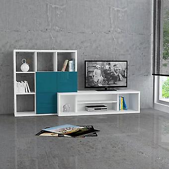 Mobil tv-dør Debi White Turkis farve i melaminic chip 215x45x110 cm