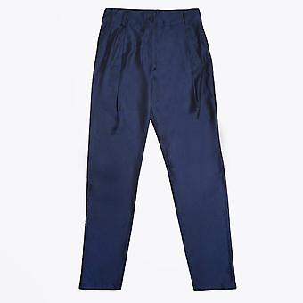 Ania Schierholt  - Satin Pleated Trousers - Navy