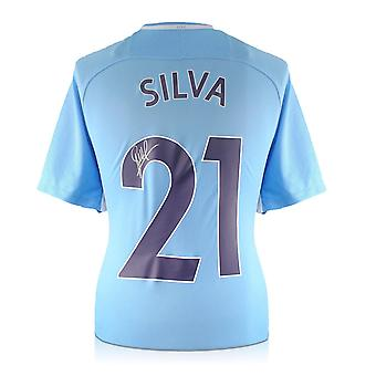David Silva Signed Limited Edition Manchester City 2017-18 Player Issue Home Shirt