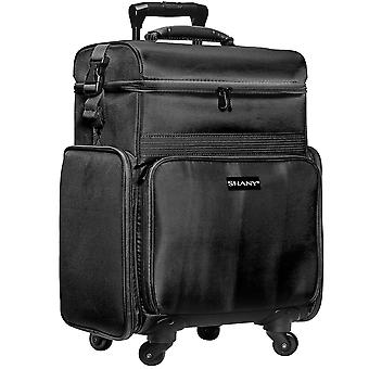 SHANY Soft Rolling Makeup Trolley Case - Multi Compartment with Laptop/iPad Holder - Set of 3 Free Cosmetic Organizers - 360 Wheels - BLACK