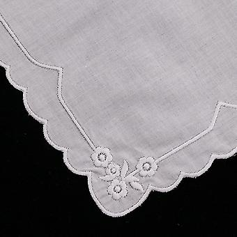 White Premium Cotton  Blank Crochet Hankies Lace For Women - Wedding Gift  Handkerchiefs For Ladies