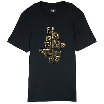 Fendi Golden Shiny FF Logo T Shirt Svart