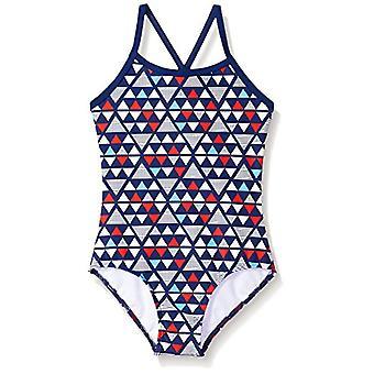Kanu Surf Big Girls' Layla Beach Sport Banded 1 Piece Swimsuit, Jade Blue, 14