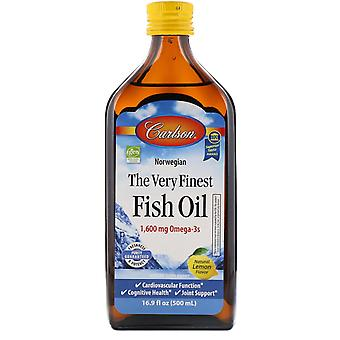 Carlson Labs, Norwegian, The Very Finest Fish Oil, Natural Lemon Flavor, 1,600 m