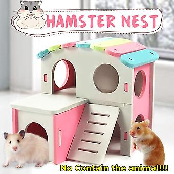 Pet House Viewing Deck Ladder Hamster House Nest With Wooden Seesaw