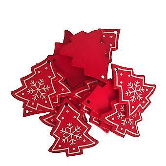 50PCS Pingentes de Madeira Árvore de Natal DIY Decoração Vermelha