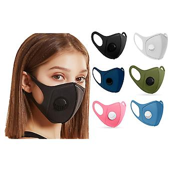 2x Face Mouth Mask with breathing valve, Washable Reusable