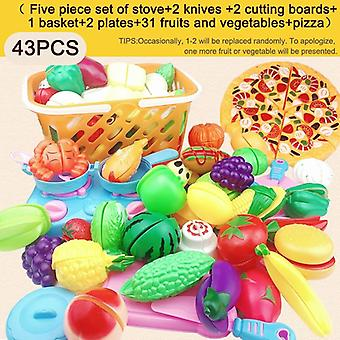 Plastic Food Cut Up Fruit Plastic Vegetables Simulation Toys For Children Kitchen- Classic Educational
