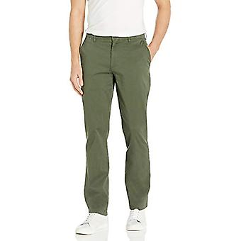 Brand - Goodthreads Men's Straight-Fit Washed Comfort Stretch Chino Pant, Olive, 38W x 30L
