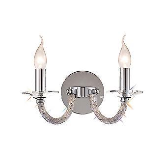 Inspirado Diyas - Elena - Lámpara de pared cambió 2 velas de luz pulido cromo, cristal