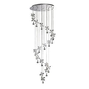 Inspiriert Diyas - Aviva - Deckenhaufen Anhänger 20 Licht 4000K LED poliert Chrom, Kristall