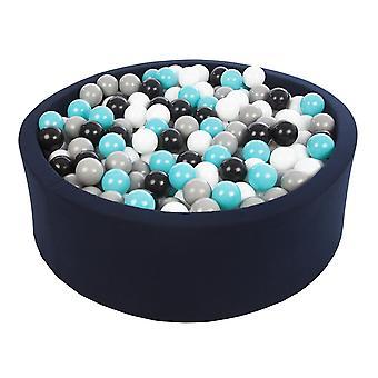 Ballenbak navy blauw met 450 ballen 90 cm zwart, wit, grijs & turquoise