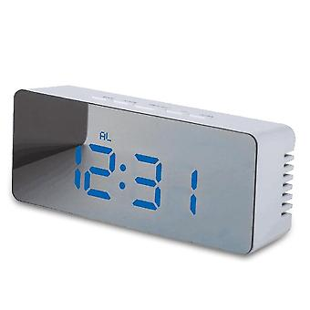 Table Clock Alarm Snooze Led Digital Mirror Time Temperature Large Electronic
