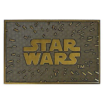 Star Wars dørmåtte i gummi logo sort / guld farve, 100% gummi, skridsikker.