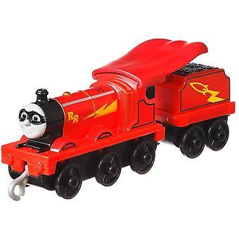 Trackmaster työntää pitkin suurta moottoria Super Hero Rail Rocket James
