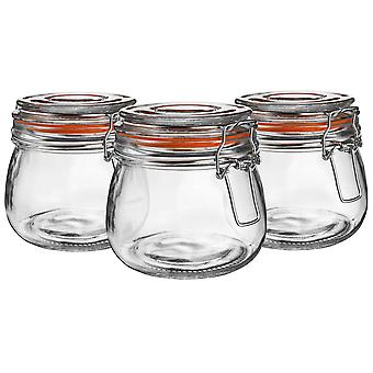 Argon Tableware Glass Storage Jars with Airtight Clip Lid - 500ml Set - Orange Seal - Pack of 6