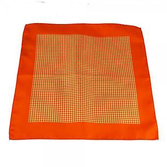 Ties Planet Antonio Boselli Orange & White Kockás Pocket Square zsebkendő