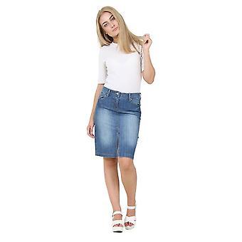 Stonewash denim skirt midi skirt with front split