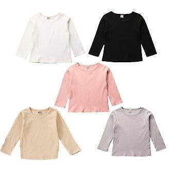 Detské tričká, bavlna s dlhým rukávom, s okrúhlym výstrihom