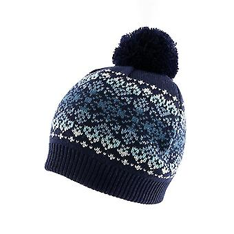 Fairisle Print Knitted Beanie Hat with Fading Stripe and Pom Pom