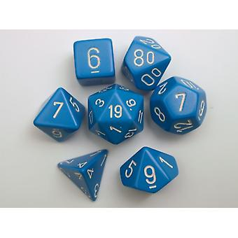 Chessex Opaque Polydice Set - Light Blue/white