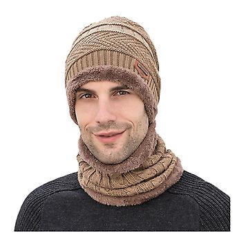 Männer's Winter Hut Mütze Kragen Set Plus samt dicke Strickmütze und Schalldämpfer