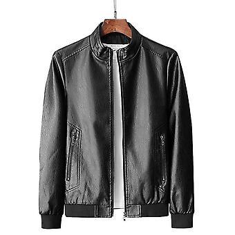 Men Genuine Leather Jacket Zipper Pockets New Autumn Slim Short Male Moto Cow