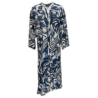 Attitudes By Renee Women's Top Regular Cashnit Printed Duster Blue A375894