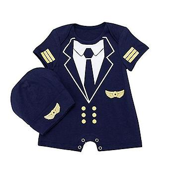 Baby Boy Short Sleeve Romper Pilot Jumpsuit And Hat