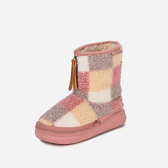 Ladies cosyheats check borg fleece slipper boot