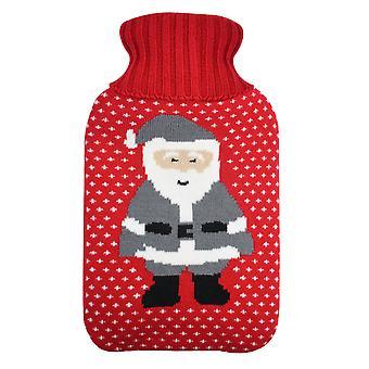 Trixes rojo y gris santa cubierta para botella de agua caliente botella de navidad botella de regalo botella no incluida