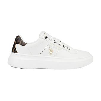 Schoenen Us Polo Sneaker Jewel Dames 029 In Ecopelle Wit/ Animalier Ds21up04