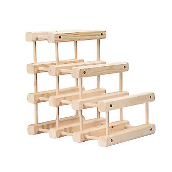 Wine Rack, Solid Wood Wine Bottle Holder, Assembly Wine Display Shelf Multiple Style Options