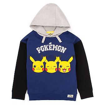 Pokemon Hoodie For Boys | Kids Pikachu Face Blue Grey Hooded Sweater | Childrens Gamer Clothing Gift Merchandise