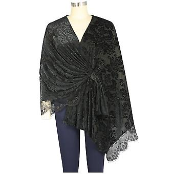 Chic Star Plus Size Pitsi varasti Cape Black Floralin
