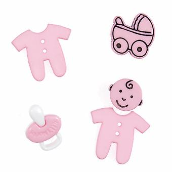LAST FEW - Pack of 5 Novelty Pink Baby Buttons For Sewing and Haberdashery