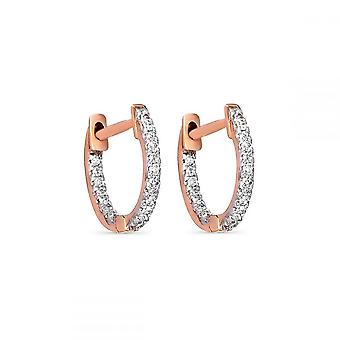 Rose Gold and Diamond Earrings 0.08 carats