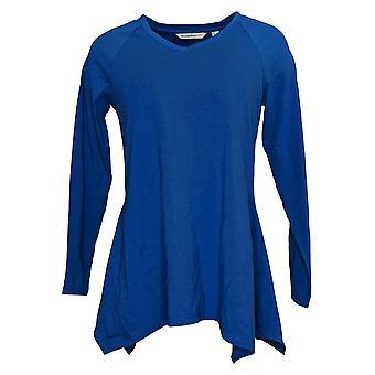 Isaac Mizrahi En vivo! Women's Top Seamed Knit Tee Blue A390348