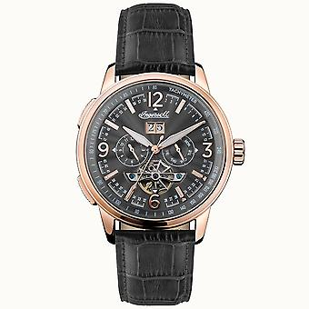 Ingersoll I00302 The Regent Automatic Rose Gold & Black Leather Mens Watch
