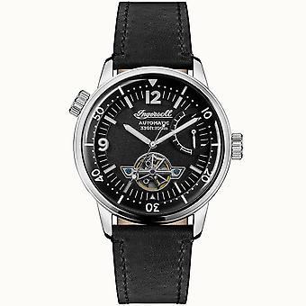 Ingersoll I07801 The New Orleans Automatic Silver & Black Leather Mens Watch