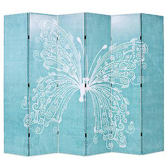 vidaXL room divider foldable 228 x 170 cm butterfly blue