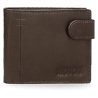 Movom Fantasy Horizontal wallet with click closure Brown 11x8.5x1 cms Leather