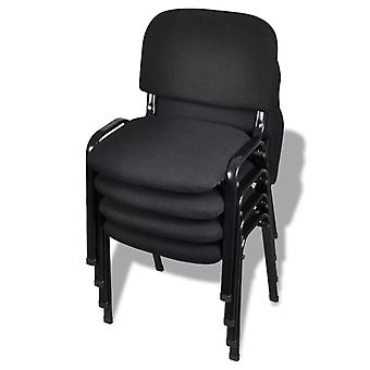 vidaXL Stapelbare bureaustoelen 4 st. stof Zwart