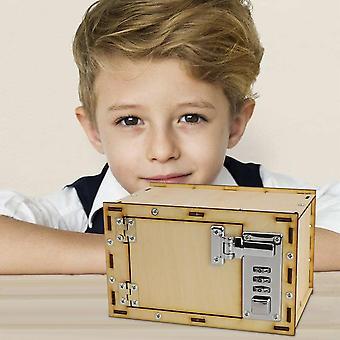 أطفال Diy تجميع خشبية كلمة السر الميكانيكية صندوق آمن نموذج الخنزير البنك عملة