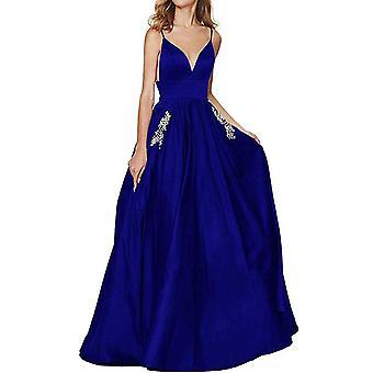 Długie paski spaghetti damskie V Neck Prom Dress z kieszeniami (Zestaw 1)