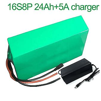 Battery With Charger 5a 24ah60v Li-ion 18650 Rechargeable Electric Two Three-wheeled Motorcycle Bike Ebike Accept Customization 16s8p 310 * 155 * 70mm